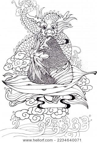 端午节中国龙吃粽子线图