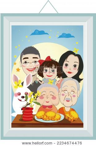 中秋节全家团聚赏月矢量插画