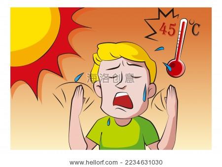 炎热的夏天,男子用手扇风