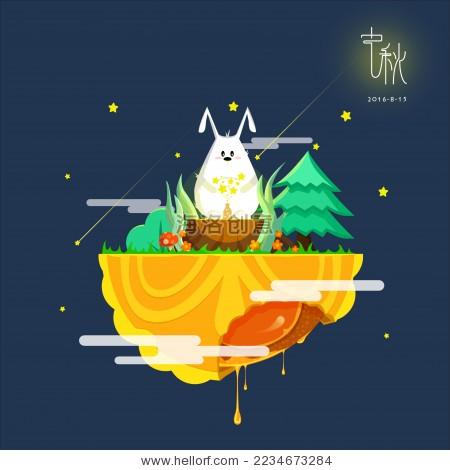 中秋节月饼上的兔子创意插画