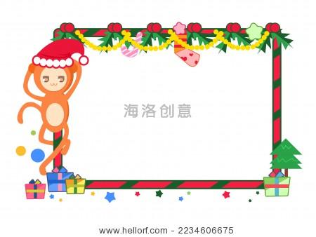 圣诞节小猴子边框