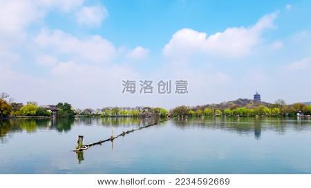 杭州西湖 苏堤 雷峰塔
