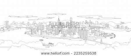 手绘重庆一棵树观景台山城地标黑白线条原创插画