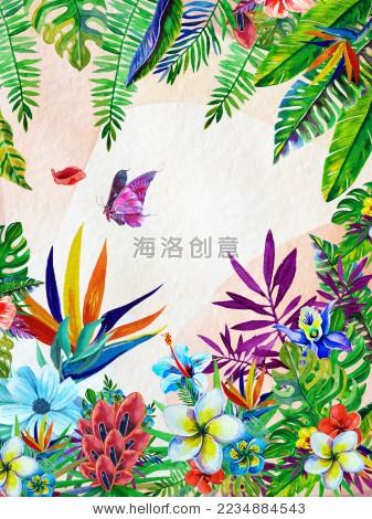 手绘热带雨林元素花朵蝴蝶