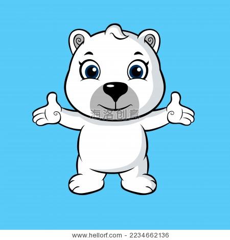 卡通北极熊小白熊矢量图