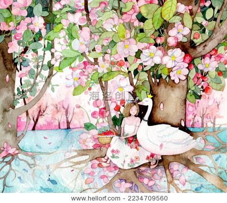 唯美意境少女风格水彩插画 面膜包装配图 手绘文艺插画