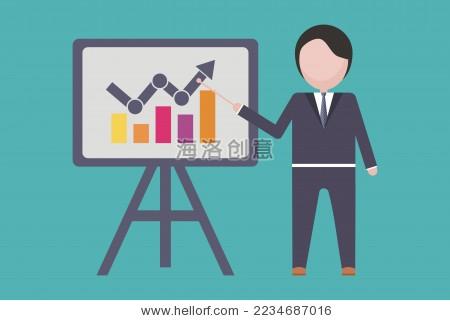 商人在展板前讲解金融经济增长,矢量设计