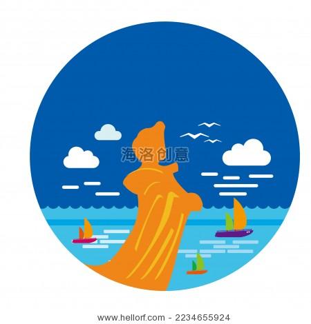 福建莆田湄洲岛旅游景点创意矢量图