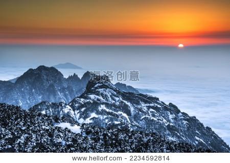 黄山冬季雪景日落