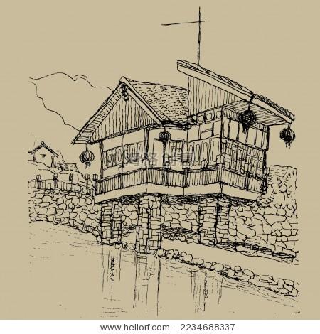 中国古镇 寨子 手绘 画 钢笔速写 水乡 少数名族 矢量