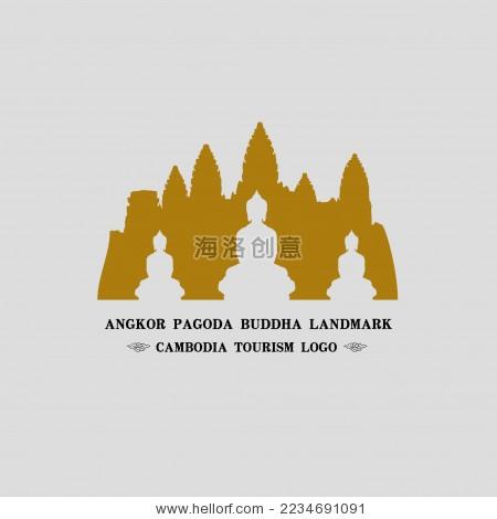 东南亚佛塔 柬埔寨吴哥古迹 标志logo矢量素材
