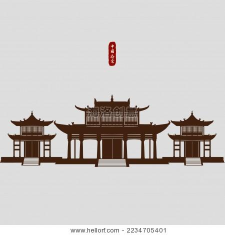 中国古典建筑王府神庙矢量剪影