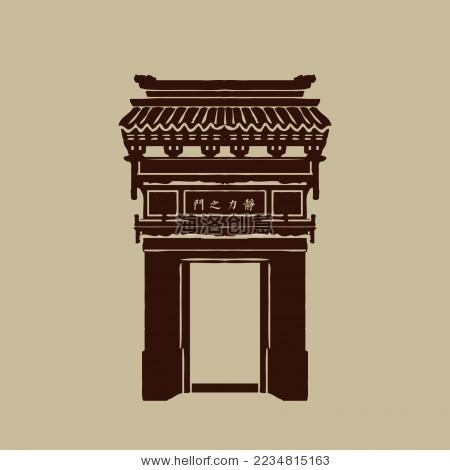 中国古代门头 建筑 矢量手绘素材