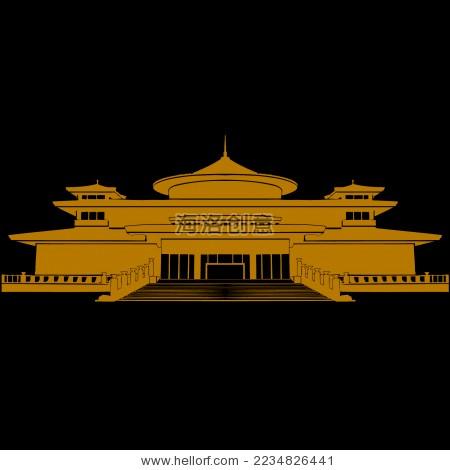 中国古建筑宫殿 西安博物院矢量剪影图片