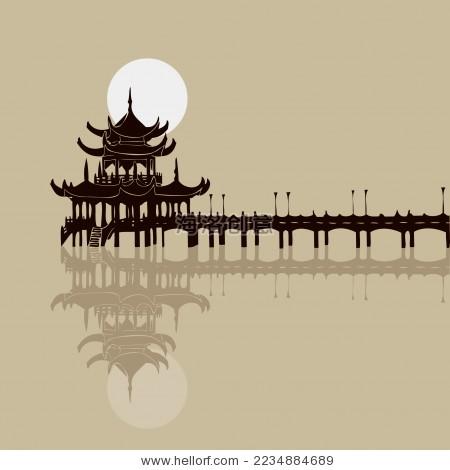 中国湖心亭/廊桥/桥亭 明月 风景剪影矢量