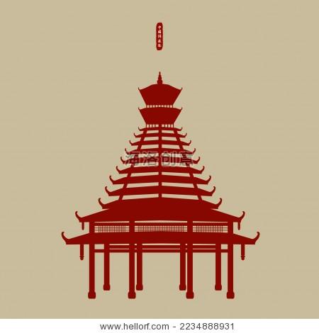 侗族塔楼 鼓楼 木塔标志剪影矢量