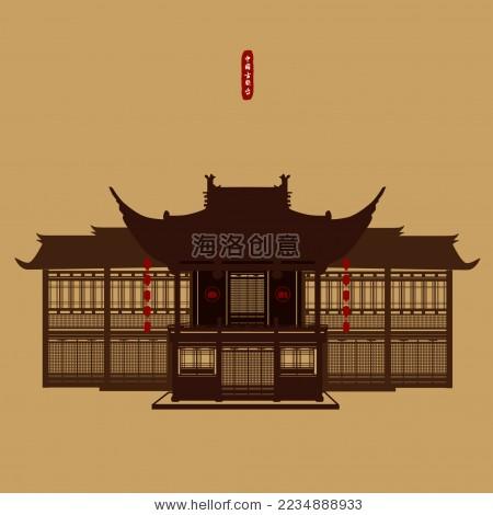 中国古典建筑江南戏台 戏楼 风景剪影矢量