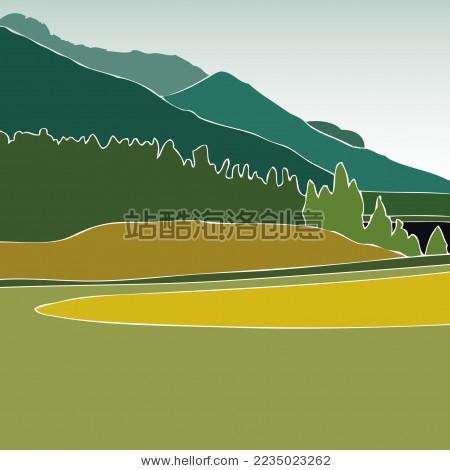 阿尔卑斯山 新疆天山公路桥矢量插画风景