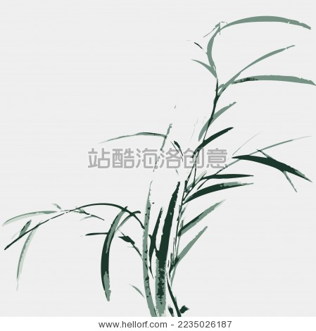 中国古典 水草 墨迹 水墨 手绘 中国画 矢量 标志logo