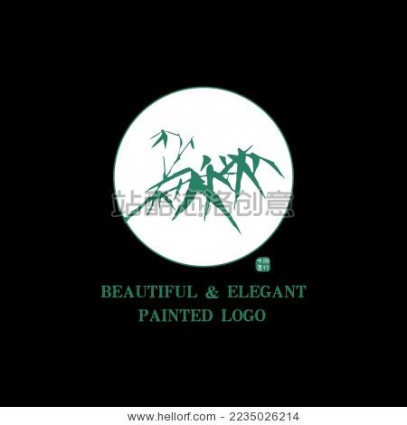 中国古典 竹子 桃树 墨迹 水墨 手绘 中国画 矢量 标志logo素材