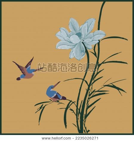 中国古典 水草 莲花 翠鸟 荷花手绘 水墨中国画 矢量