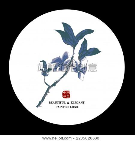 中国古典优雅 杏枝花手绘 水墨中国画 矢量剪影 标志logo元素