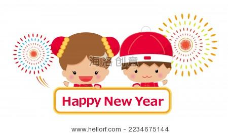春节问候和穿中国传统服装的男女小孩子.写happy new year