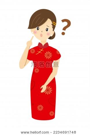 旗袍女人 疑问动作 卡通画