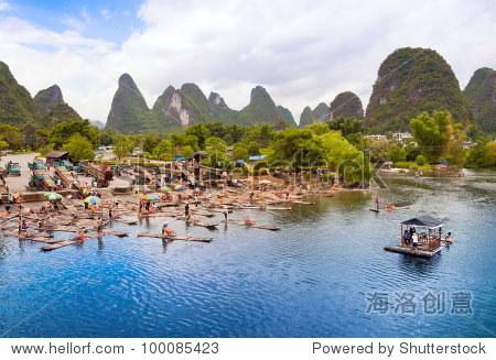 Bamboo rafting starting point in Yangshuo Li River, China