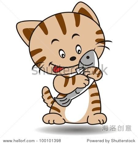 猫吃鱼2 - 动物/野生生物,艺术 - 站酷海洛创意正版