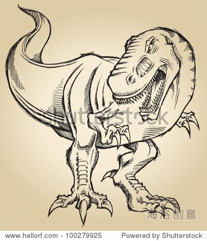 素描涂鸦恐龙霸王龙暴龙矢量插图艺术-动物/野生生物