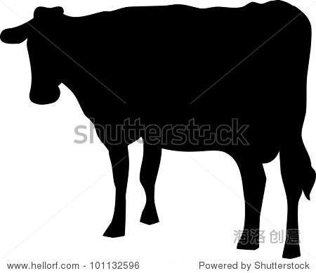 白色背景黑色轮廓的一头牛