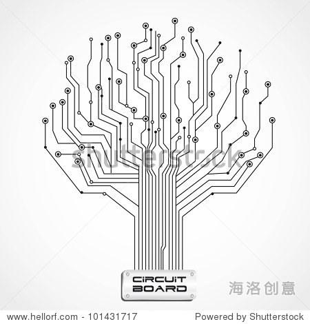 电路板形状的树,矢量插图