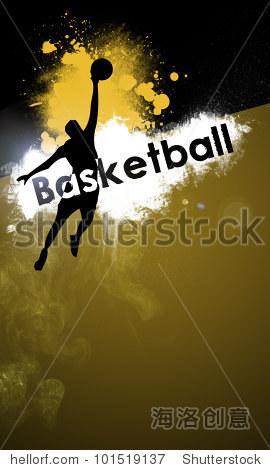 抽象的篮球或街头篮球背景,空间(海报,网络,传单,杂志
