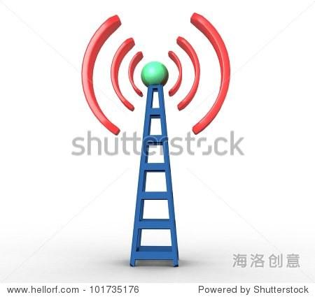3 d蓝色的白色背景上的无线通信塔