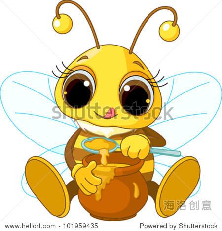 可爱的蜜蜂吃蜂蜜