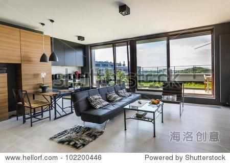 现代室内设计房间全景窗户