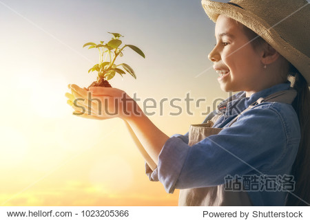 Cute little child girl with seedlings on sunset background. Fun little gardener. Spring concept  nature and care.