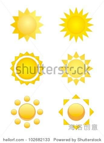 套手绘太阳图标或标志,剪贴画孤立在白色背景.
