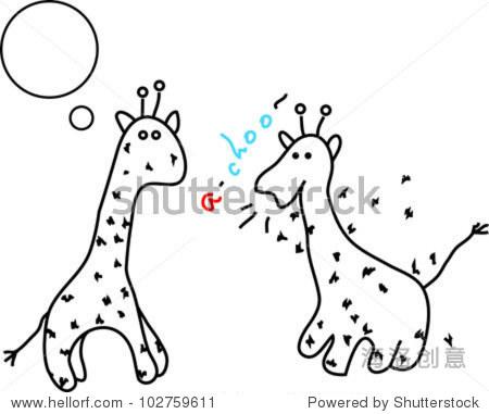 打喷嚏长颈鹿可爱的插图孤立