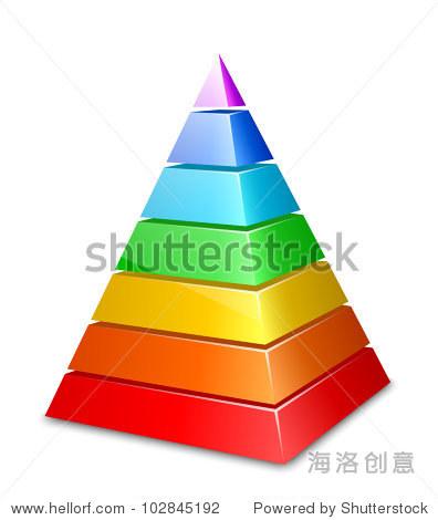 颜色分层的金字塔.矢量图