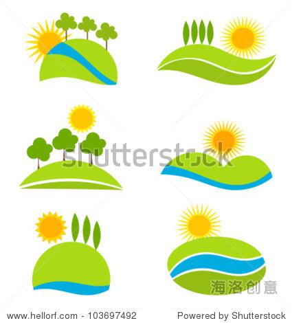 景观设计图标.矢量图 - 自然,符号/标志 - 站酷海洛