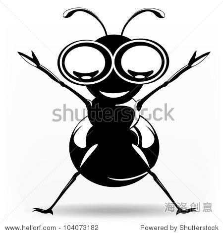 小蚂蚁不断上升的黑白色 - 动物/野生生物,符号/标志