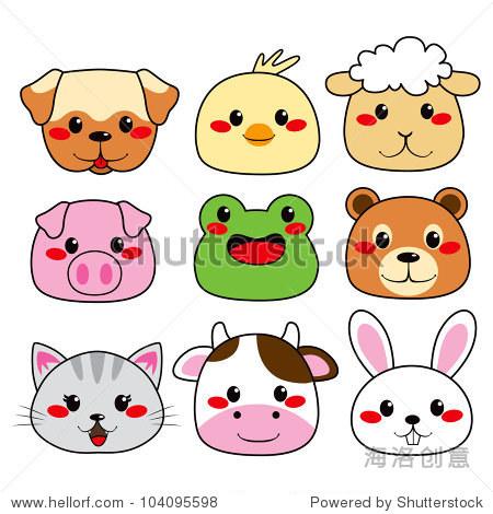 收藏的九个有趣和可爱快乐的动物面临着微笑
