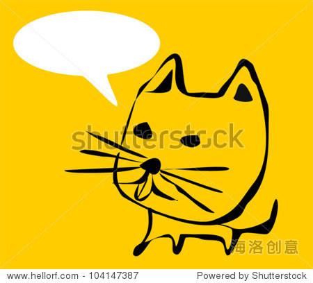 猫的卡通涂鸦文字泡沫