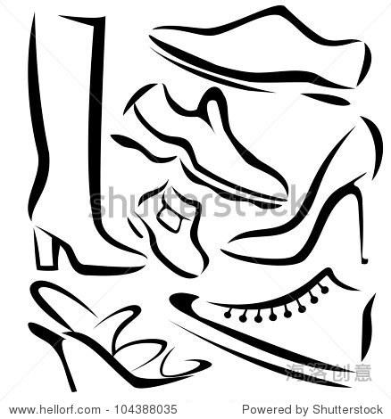 的鞋子款式,向量素描在简单的黑色线条
