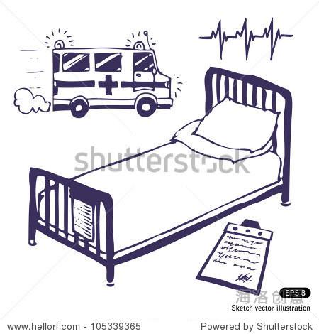 医院的病床上,救护车.手绘草图说明孤立在白色背景