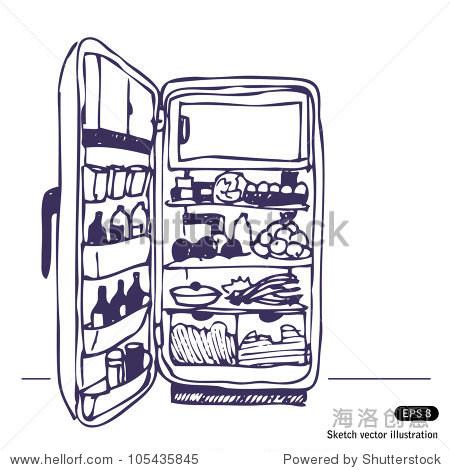 冰箱.手绘草图说明孤立在白色背景图片