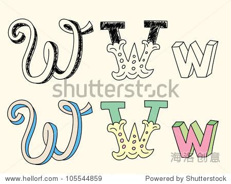 手绘涂鸦字母在柔和的颜色:字母w