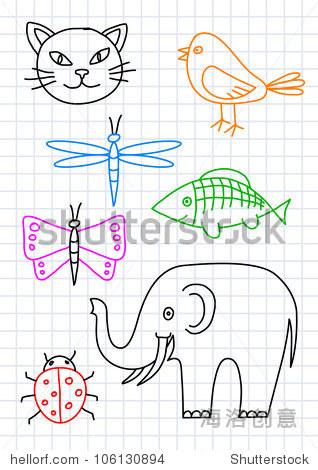 图纸的动物在方格纸上